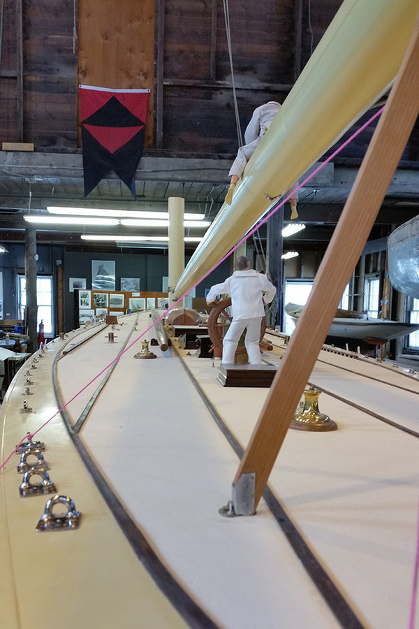 A 1/6 scale model of the Reliance, a boat built specifically to defend the America's Cup, will soon be finished and on display at the Herreshoff Marine Museum