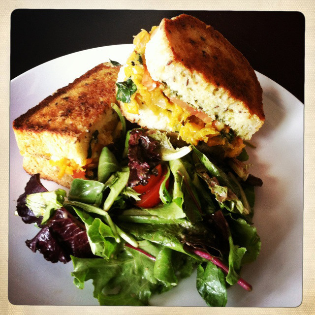 The Beehive Cafe's butternut squash sandwich on homemade flaxseed bread