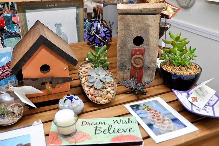 Birdhouses $45; Terraniums $26 and under; cards $5