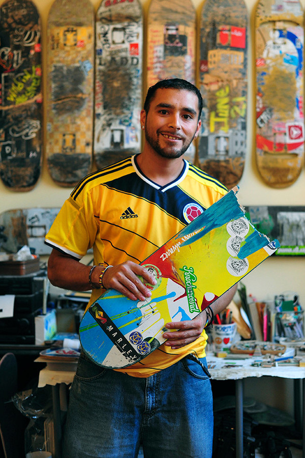 Steve Duque gives old skateboard decks second lives as functional pieces of art.