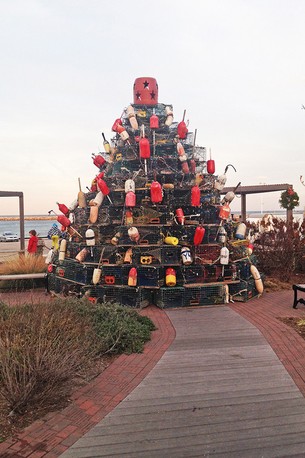 The centerpiece of Block Island's holiday stroll is Harold Hatfield's lobster trap Christmas tree