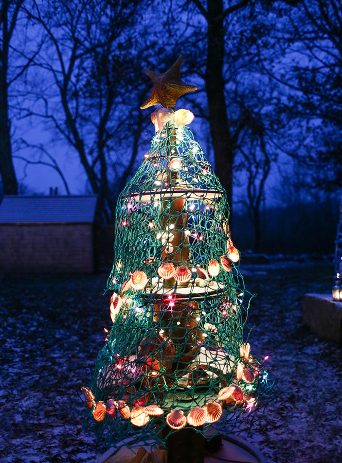 Artists design and construct Christmas Trees from repurposed materials at Tiverton Four Corners