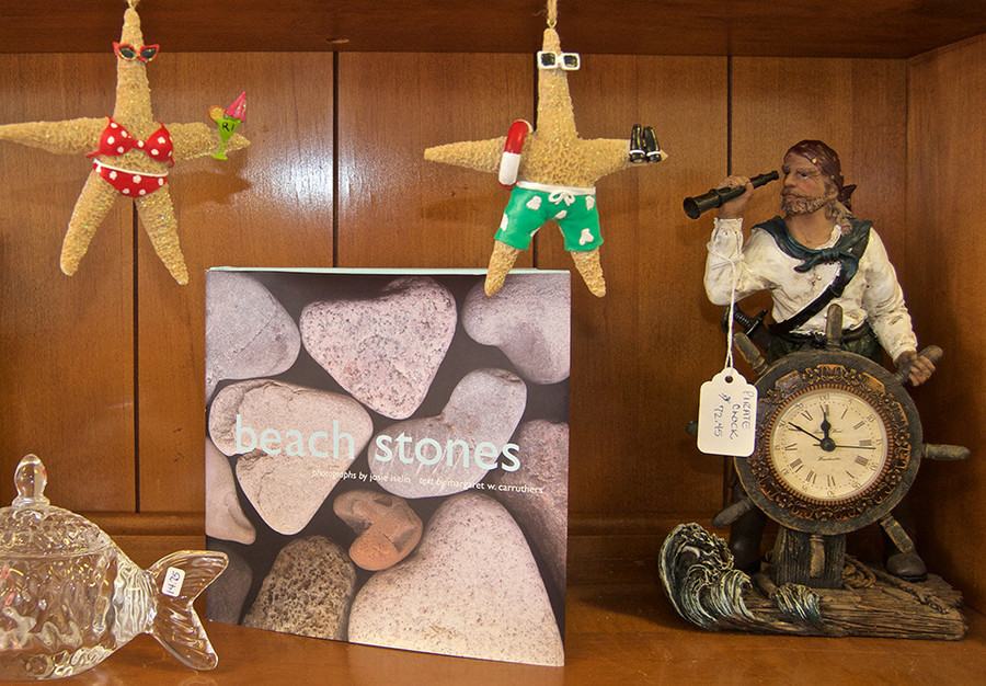 Starfish ornaments $12; Beach Stones book $17.95; pirate clock $72