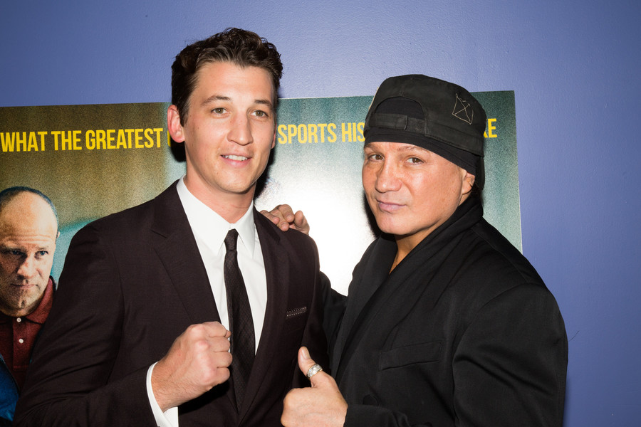 Miles Teller and Vinny Paz at the Providence premiere of Bleed For This