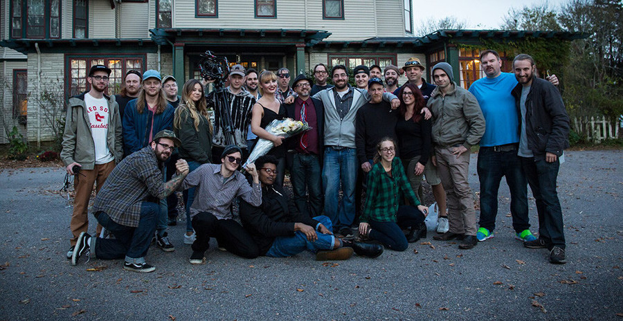 The cast and crew of Anders Manor poses for a crew shot on the final day of principal photography.
