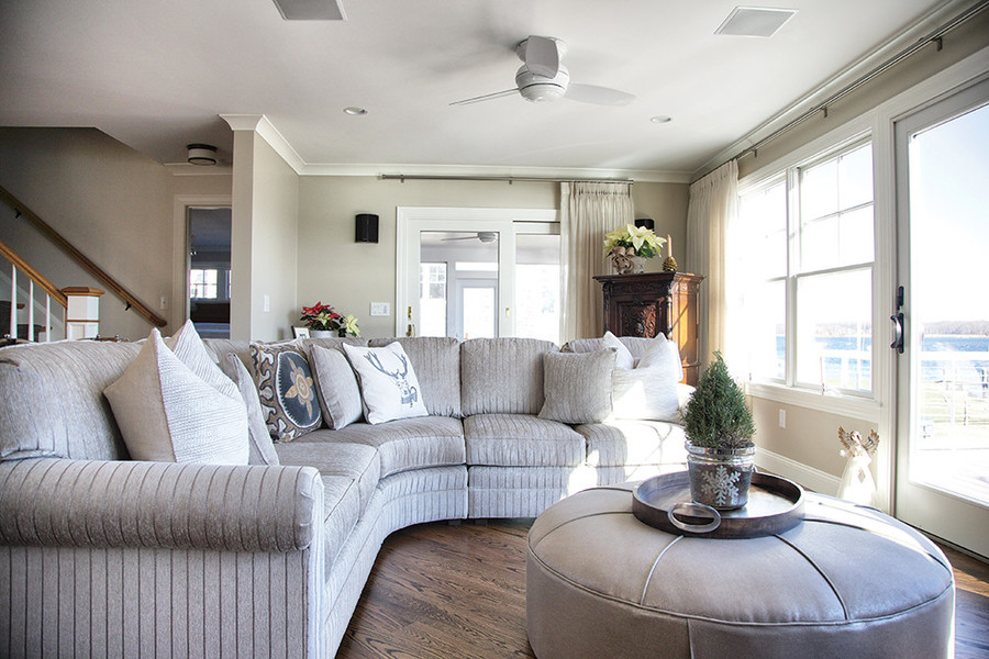 A neutral palette makes the scenery the focus of this waterfront home in Barrington
