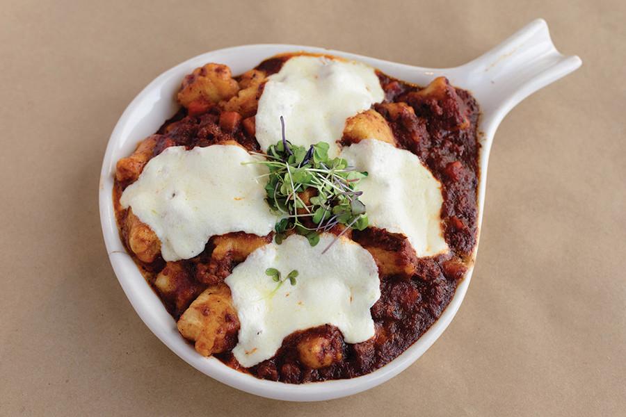 Gnocchi Bolognese with fresh mozzarella