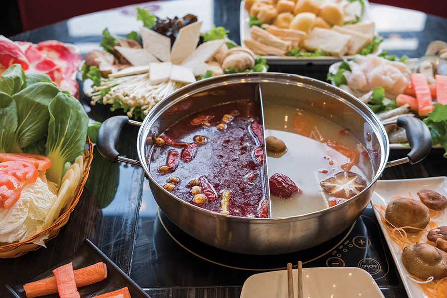The half and half pot lets you have two different cooking broths at LaMei