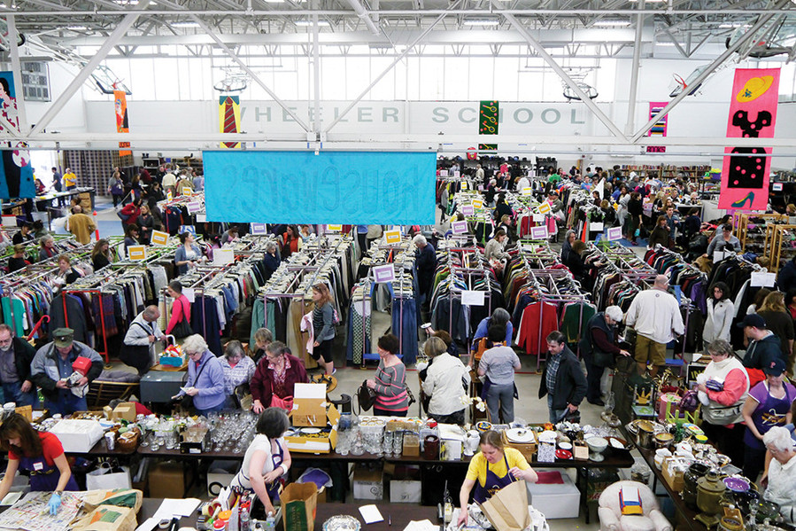 Shoppers scan the aisles for pre-owned treasures at Wheeler's annual clothing sale, returning for its 69th year on April 6-8