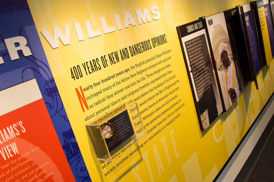 New and Dangerous Opinions, on display at the Roger Williams National Memorial Park Visitors Center, puts Williams' philosophies into a contemporary context
