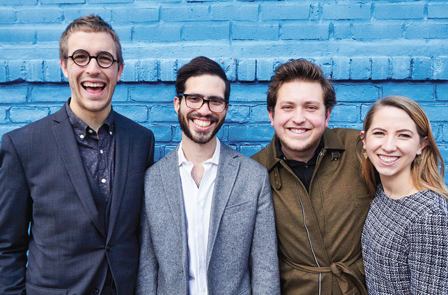 Sam Hood Adrain (left) with Jorge Morales Pico, James Clements and Ana Christina Schuler bring their experimental theatre company to Providence
