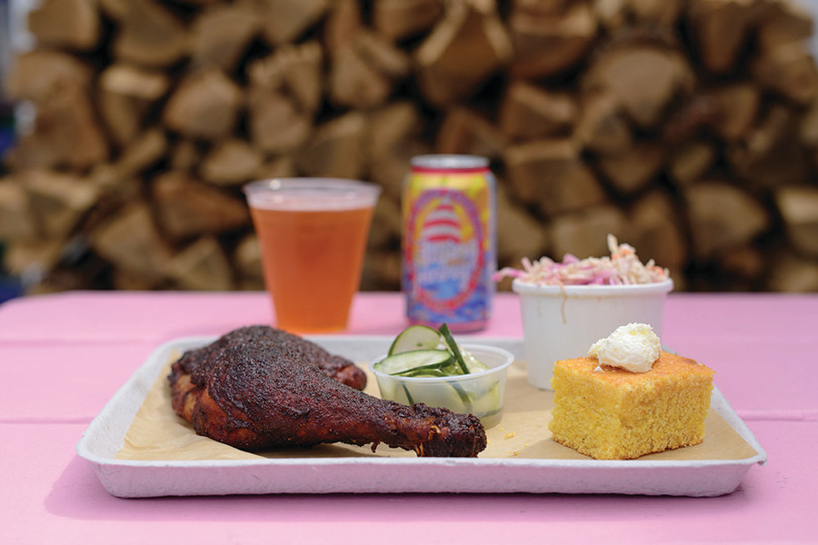The Pink Pig perfects slow-cooked barbecue served with local beer and warm cornbread