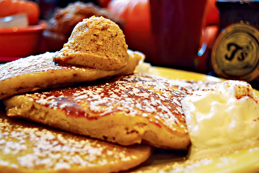 Pumpkin Pancakes at T's Restaurant
