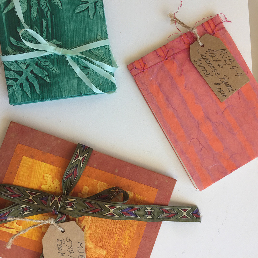 Handmade books by Mary Jane Bohlen, $12–$20