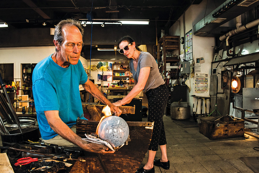 Jim Watkins and Liz Pannell of the glassware studio Peàn Doubulyu
