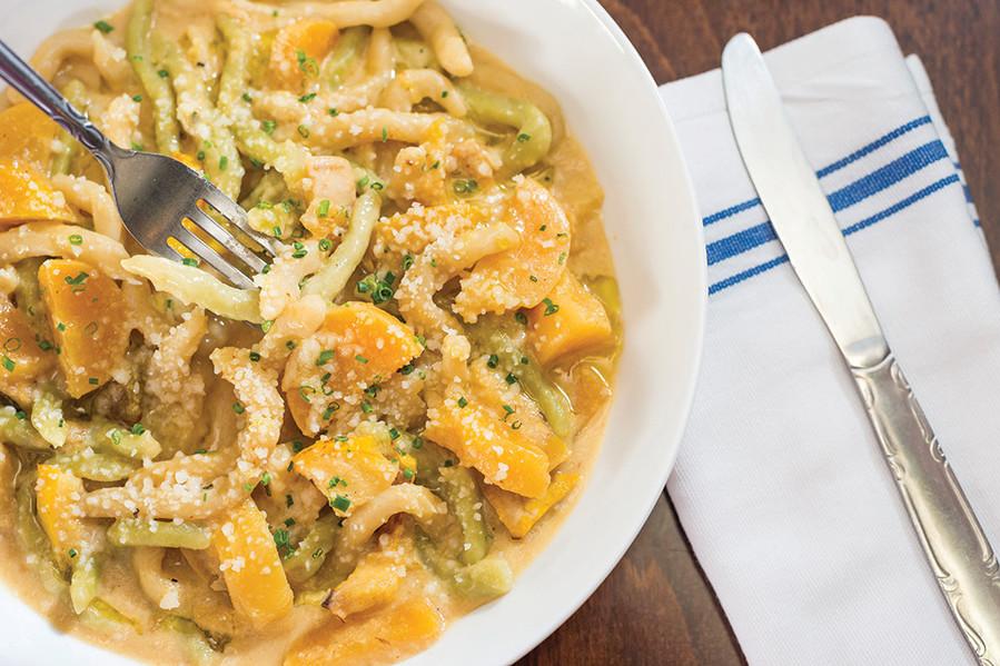 Strozzapretti with RoastedSummer Vegetables, Sweet Corn Crema and Parmesan