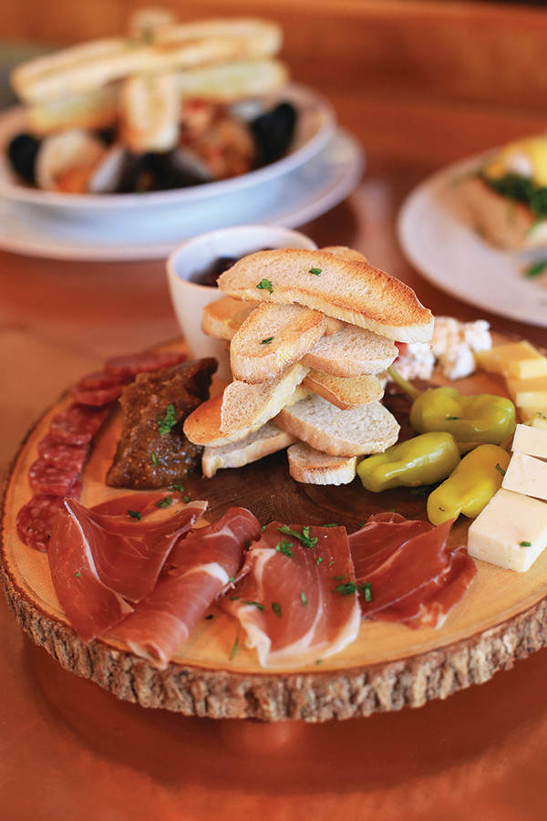 Cheese Board with Crostini and Spicy Honey