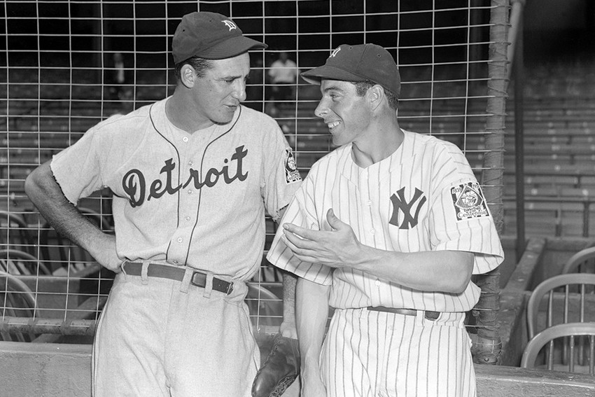 Hank Greenberg and Joe DiMaggio, in a photo from the Jewish Alliance's new exhibit