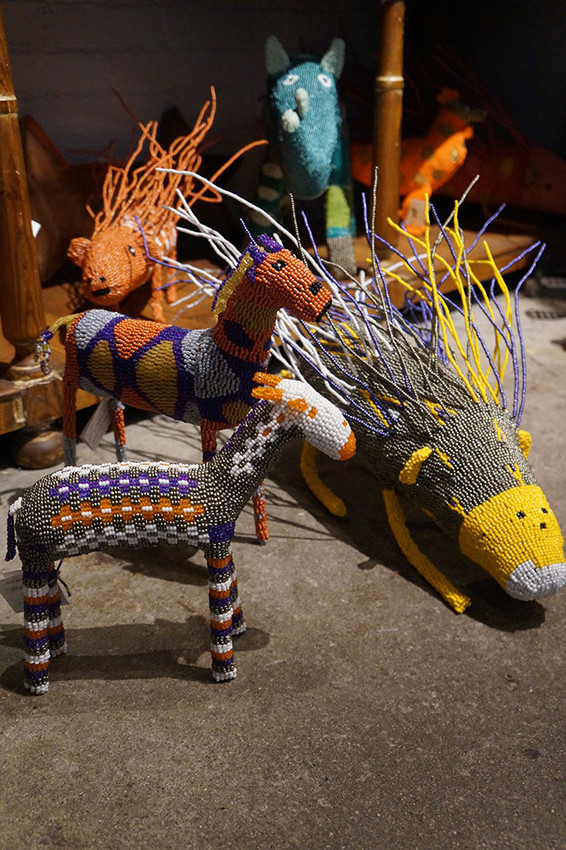 Beaded animals, $98 and up