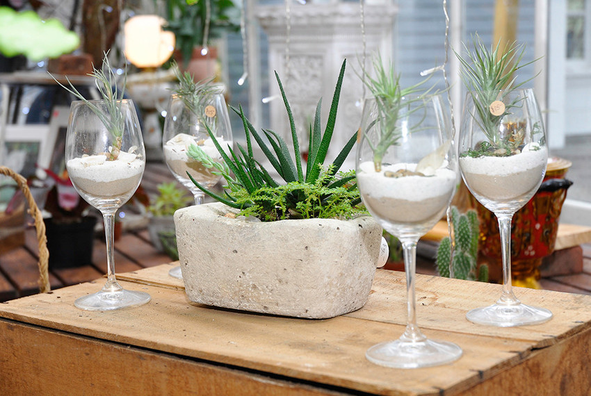Wine glass arrangements, $15; cement centerpiece, $30-$40