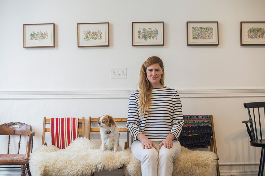 Willa Van Nostrand puts the spotlight on cocktails and local art, including work shown here by Alexa Guariglia, at World's Fair Gallery