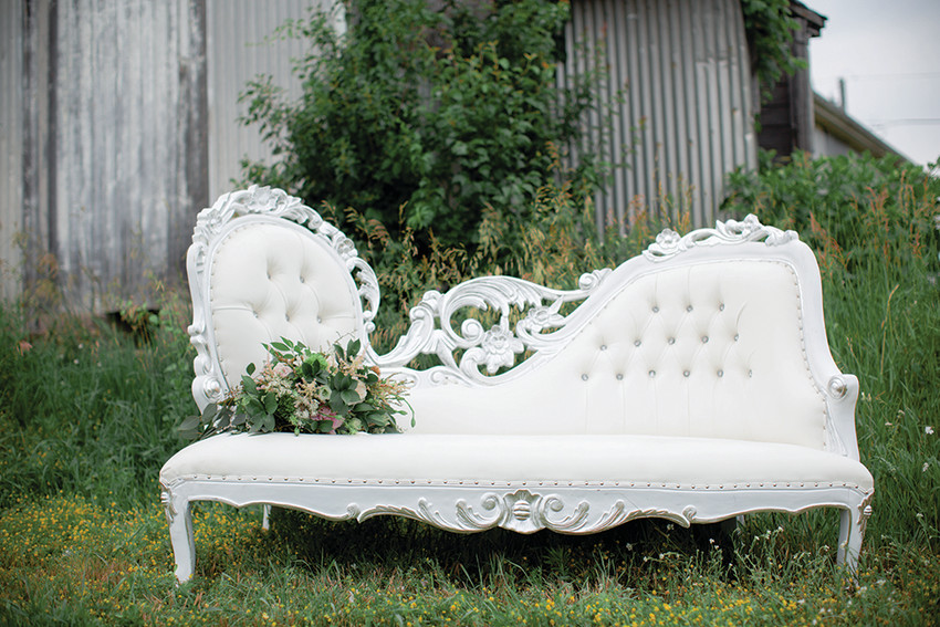 Uniquely Chic Vintage rents restored pieces – like this chaise lounge – for events, weddings, and house stagings