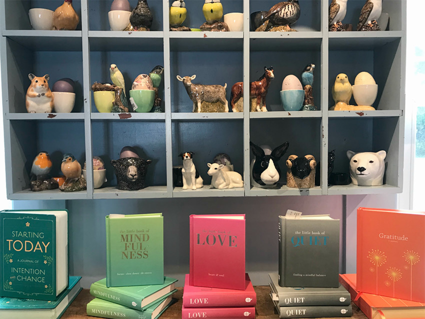 Ceramic Animal Eggcups and Tealight holders: $22–$26; Collection of Gift and Self-Motivational books: $10-$14