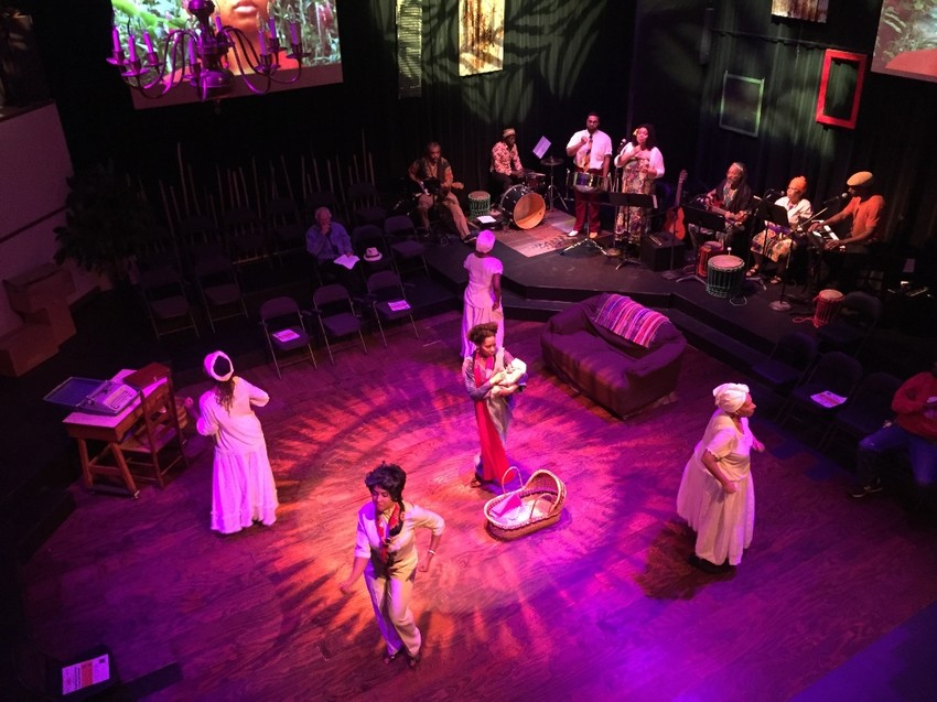 "A rehearsal of ""Afiba and Her Daughters,"" at Rites and Reason Theatre at Brown University's Africana Studies Dept. Brown's forthcoming PAC parallels its mission to cultivate creative expression, this time with a bigger venue."