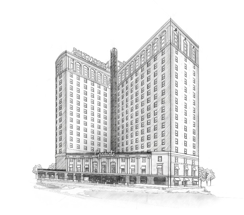 The artistic rendering shows the Biltmore's new identity as The Graduate