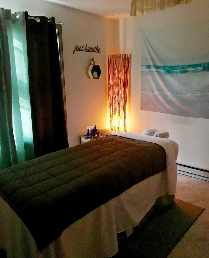 The massage room at Mosaic is a coastal oasis