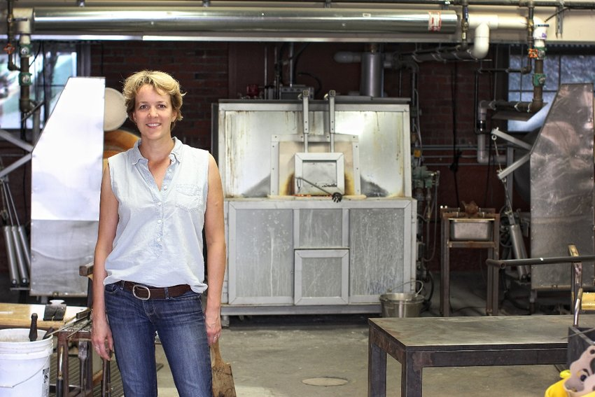 Glassblower Tracy Glover in her Pawtucket studio