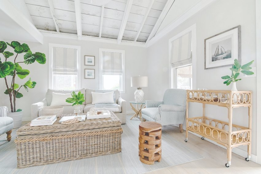 Fuss-free furnishings invite lingering in the cozy-coastal space