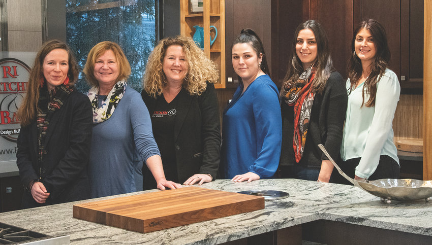Leading Ladies of The Design + Build Team at RI Kitchen & Bath in Warwick, left to right: Erika Pearson, Prudence Stoddard, Tanya Donahue, Billie Senzek, Kingsley Catalucci, and Stephanie McShane