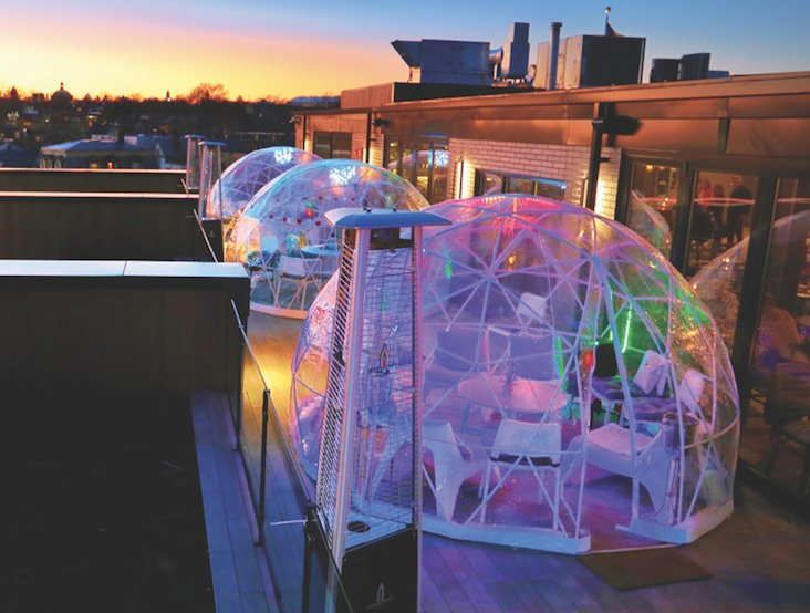 Enjoy sweeping views of Providence and rooftop dining, even in winter, with the heated outdoor igloos at Mare Rooftop, available daily