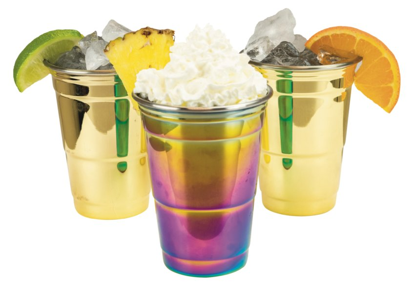 Party cups in Rainbow, Copper, or Gold, $16 each.