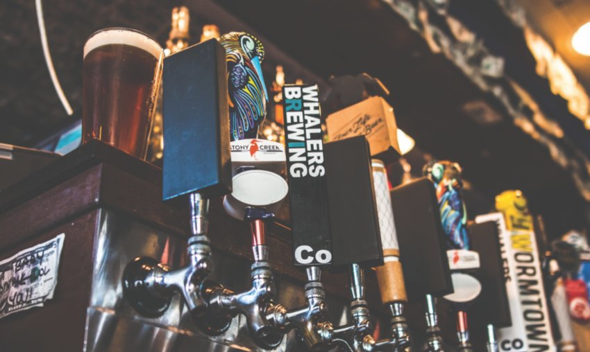 A glimpse at some of Mews' 71 beers on tap.