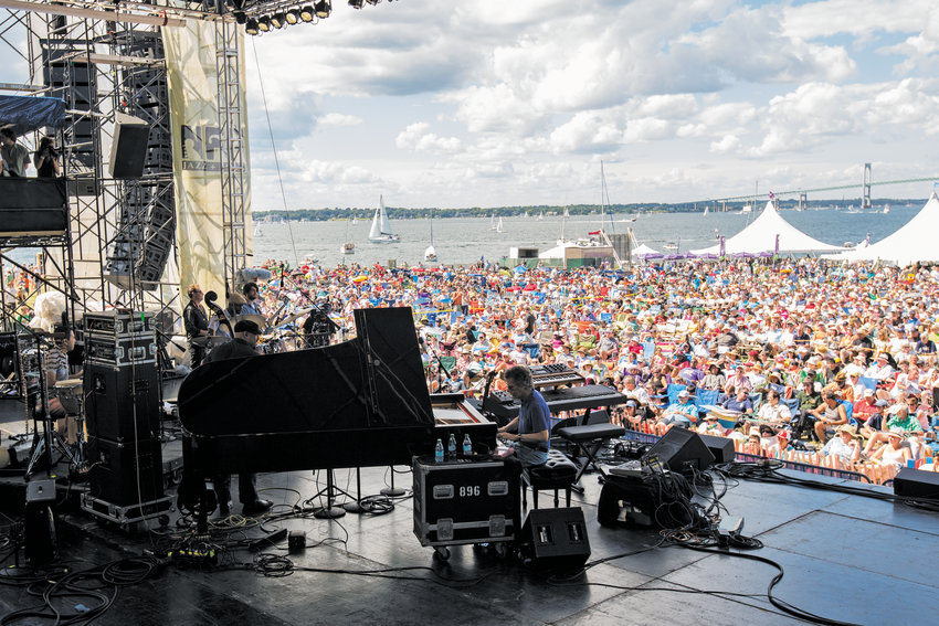 Artist Chick Corea performs at the Newport Jazz Festival