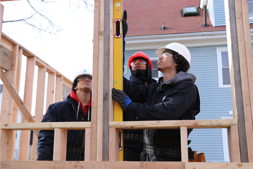 Eric Martinez, Cristian Mercedes, and Christian Roman put their PCTA skills to the test at the home build