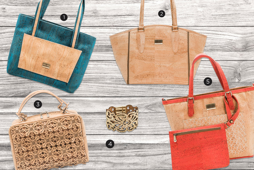 1. Grace Handbag, $159  2. Dixie Vegan Tote, Natural, $249  3. Blossom Floral Bag, $425  4. Sidney Bracelet, $55  5. Phlox Tote with Clutch – Embroidery, Coral Red, $249