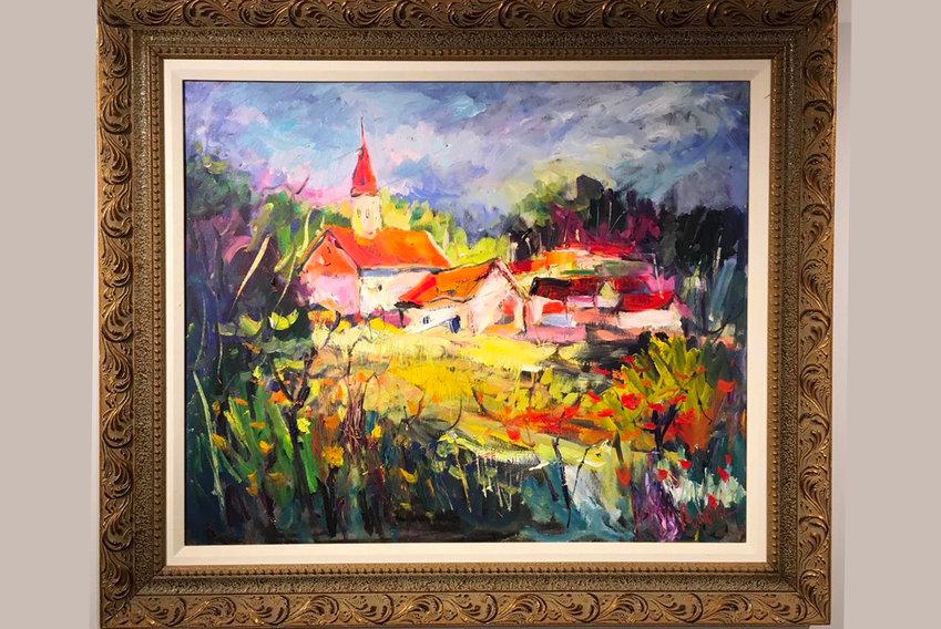 Ben Weiss, Hillside Village, oil on canvas
