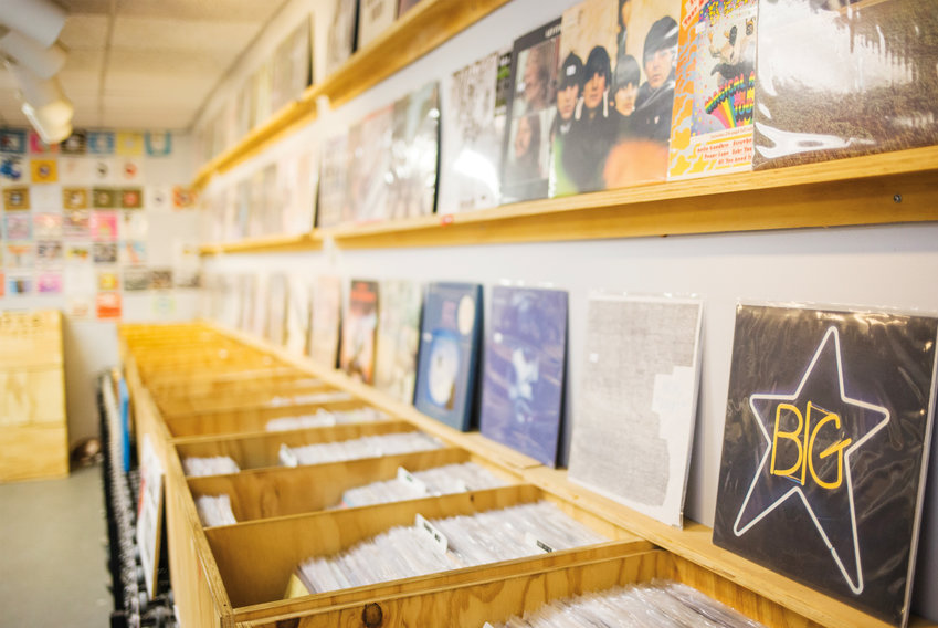 Rows of LPs at   Olympic Records