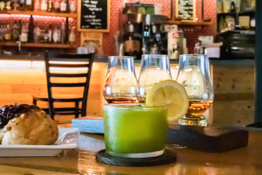 The Leafy Green Matcha Gimlet   and a whiskey tasting flight