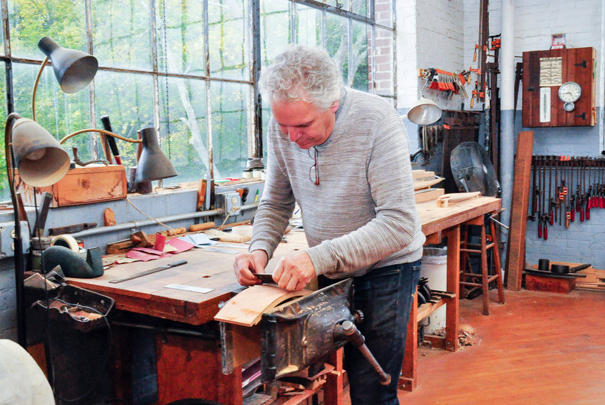 Timothy Philbrick at work in his Peace Dale studio