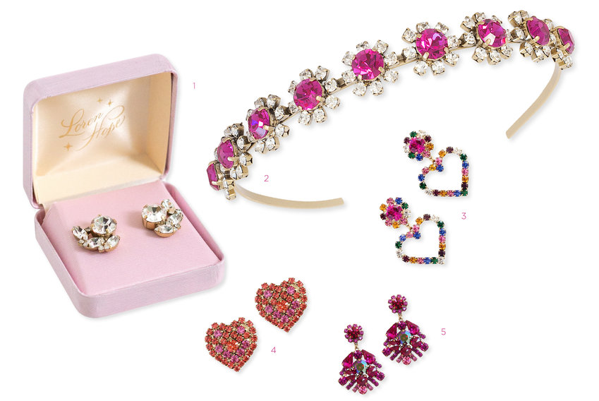 1. Small Vintage Style Gift Box (For Studs), $5 |  2. Blair Headband, $198 |  3. Cupid Earrings in Multi, $78 |  4. Maci Heart Studs, $68 |  5. Willa Earrings, $198