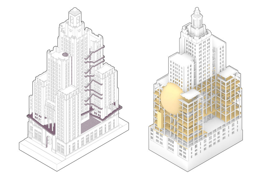 (L): Yiren Mao's design explores city living post-pandemic, incorporating social distance practices in the series of stairs.    (R): Nameer Najib's proposal imagines the building as Hasbro's creative HQ, with lower floors dedicated to play and learning for kids.
