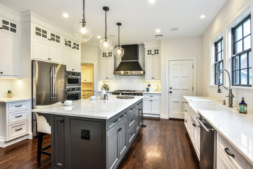 New transom cabinets lend timeless appeal to the remodeled kitchen