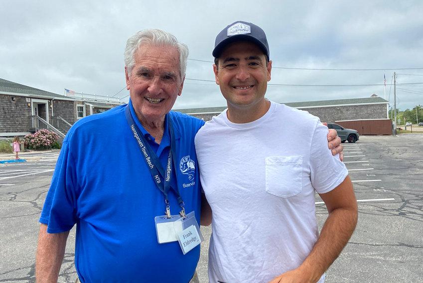 Eldredge and grandson Kourakis at Narragansett Beach