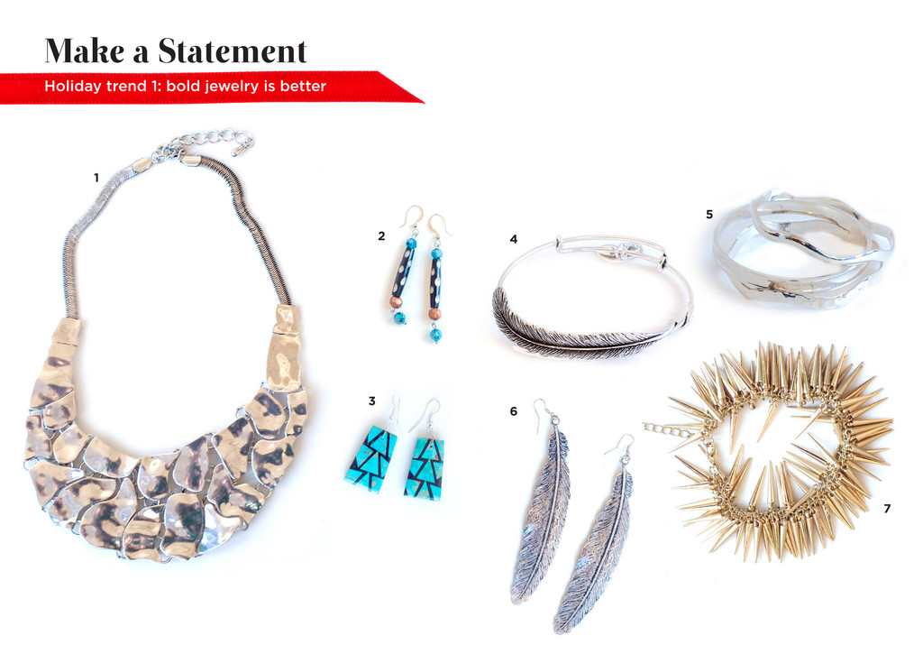 1. Silver Necklace, $48. Gabrielle, 467 Angell Street. 273-4250. | 2. Beaded Earrings, $18. Luli Boutique | 3. Turquoise Earrings, $54. Southwest Passage | 4. Alex and Ani Feather Bracelet, $58. Flaunt | 5. Silver Bangles, $58-$86. Green River Silver | 6. Feather Earrings, $12. NAVA | 7. Martin & Ricci Bracelet, $65. Mignonette