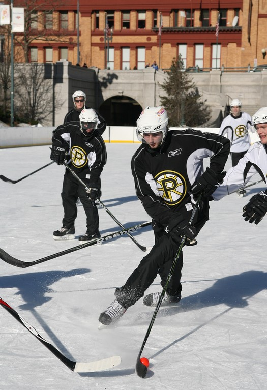 A Providence Bruins scrimmage at the Bank of America Skating Center in Kennedy Plaza