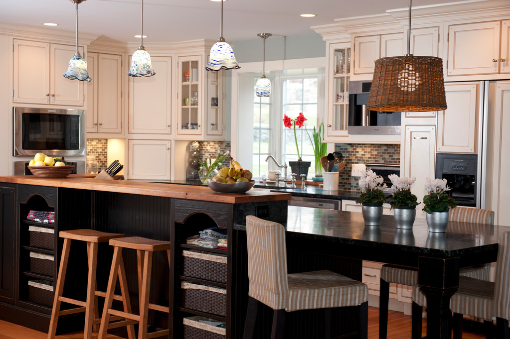 The renovations on this Saunderstown kitchen include a built-in saltwater fish tank